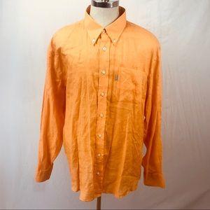 Barbour 100% Linen orange L/S Button Down shirt